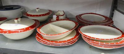 TWENTY ONE PIECES OF MIDWINTER STYLECRAFT WARE RED AND WHITE VIZ, TWO TUREENS PLATES, SAUCE BOAT,