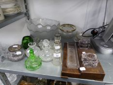 TWO BUD VASES WITH SILVER COLLAR TOPS, VARIOUS BOWLS, WOODEN DESK STAND WITH TWO GLASS INKWELLS