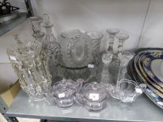 A VICTORIAN CUT GLASS TABLE LUSTRE (ONE DROP A.F.), A PAIR OF PRESSED GLASS CELERY VASES, TWO