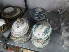 THREE SMALL VICTORIAN TUREENS, WITH COVERS, STANDS NAD LADLES (ONE LADLE A.F.)
