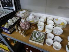 SET OF SIX CHINA COFFEE CANS, SAUCERS AND SIDE PLATES, PRINTED WITH DAFFODILS AND OTHER SPRING