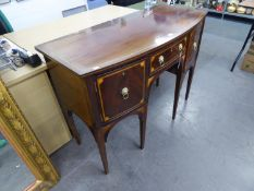 A REGENCY MAHOGANY SMALL SIDEBOARD, WITH SHELL INLAY, WITH LION HEAD AND RING HANDLES, HAVING A
