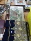 INDIAN GOLD THREAD ON BLACK THREAD LONG OBLONG PANEL/RUNNER, INTRICATE FOLIATE SCROLL PATTERN,