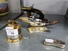 A PISTOL PATTERN TABLE CIGARETTE LIGHTER; ROLSTAR TABLE LIGHTER; BENSON & HEDGES POCKET CIGARETTE