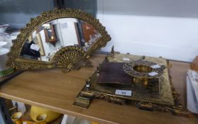 POST WAR CAST BRASS EASEL MIRROR IN THE FORM OF A SPANISH FAN WITH BEVELLED GLASS MIRROR PLATE, 15