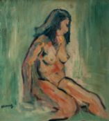 LAWRENCE JAMES ISHERWOOD (1917-1988) OIL ON BOARD Irene, nude Signed, faintly titled and