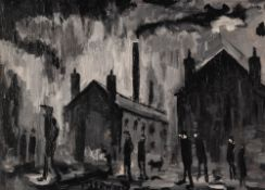 LAWRENCE ISHERWOOD (1917 - 1989) OIL PAINTING ON BOARD 'Silver Street, Wigan' Signed lower left