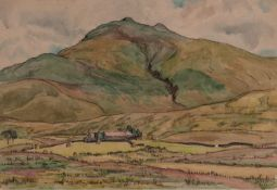 IAN GRANT (1904 - 1993) WATERCOLOUR DRAWING 'Highland Farm', (Landscape VI) Labelled verso 10in x 14