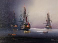 BARRY HILTON (b.1941) OIL ON CANVAS Moonlit seascape with moored galleons Signed 11 ½? x 15 ½? (29.