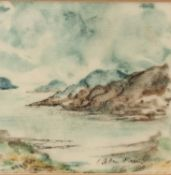 ALLEN FREER (b.1926) THREE MINIATURE WATERCOLOURS ON VELLUM ?Mountain Landscape? ?Pembrokeshire