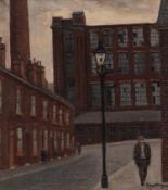 ROGER HAMPSON (1925 - 1996) OIL PAINTING ON BOARD 'Horatio Street, Bolton' Signed lower right,