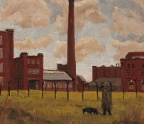 ROGER HAMPSON (1925 - 1996) OIL PAINTING ON BOARD 'Atlas Mills, Bolton' Signed lower right, titled