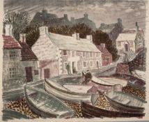 NORMAN JAQUES (1922-2014) TWO COLOUR PRINTS Moelfre Village, Signed Artist Proof 20? x 23? (50.8cm x