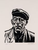 ROGER HAMPSON LINOCUT 'Jim' Signed, titled and numbered 7/10 in pencil 10in x 8 3/4in (25.5 x 22.