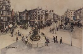 MARGARET CHAPMAN ARTIST SIGNED COLOUR PRINT Piccadilly Circus, London 15 ½? x 23 ¼? (39.4cm x 59cm)