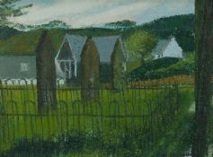 MARGARET GUMUCHIAN (1928 - 1999) OIL PAINTING ON DALER BOARD Borgue Churchyard Signed lower right