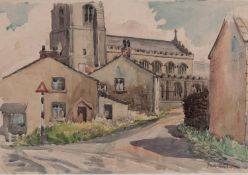 IAN GRANT (1904 - 1993) WATERCOLOUR DRAWING 'Mottram Church' Signed lower right and labelled verso