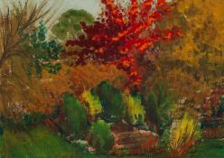 MARGARET GUMUCHIAN (1928 - 1999) GOUACHE DRAWING The Garden Autumn Signed lower left and labelled
