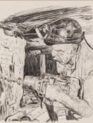ROGER HAMPSON (1925 - 1996) PENCIL DRAWING Coal miner drilling in a mine shaft Unsigned 9 1/2in x