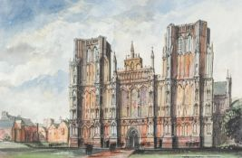 CANNING, (MODERN) PEN AND WASH DRAWING ?Wells Cathedral? Signed, tilted and dated (19)91 13 ½? x 21?