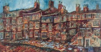 PAT COOKE (1935-2000) PEN AND WASH ?Bradshaw Street, off Shude Hill, Manchester? Signed, titled