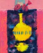 CAROLINE BAILEY (b.1953) MIXED MEDIA ?Carnations & Yellow Vase? Signed, titled and dated 2006 to