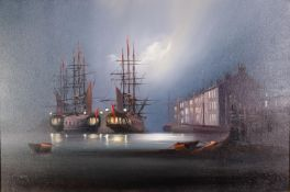 BARRY HILTON (b.1941)OIL ON CANVAS Moonlit harbour scene with moored galleons Signed 19 ¾? x