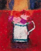 CAROLINE BAILEY (b.1953) MIXED MEDIA ?Jug on Red Cloth? Signed, titled and dated 2006 to Waterford