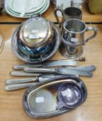 SUNDRY ELECTROPLATE INCLUDING; OVAL ENTREE DISH AND TWO HANDLE COVER, WITH APPLIED GADROON EDGE,
