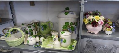 FOUR COALPORT, AYNSLEY ETC... CHINA POSY ORNAMENTS AND ITALIAN VINE EMBOSSED POTTERY ITEMS