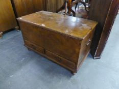 19TH CENTURY MAHOGANY CHEST WITH LIFT-UP TOP, TWO DRAWERS BELOW, END BRASS HANDLES