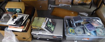 SONY DVD PLAYER; DVDs; PIONEER DVD PLAYER; THREE WALL MOUNED PIONEER SMALL LOUDSPEAKERS AND TWO