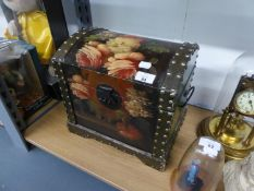 """A BLACK AND FLORAL PAINTED DOME TOPPED BOX WITH METAL END, 12"""" WIDE"""