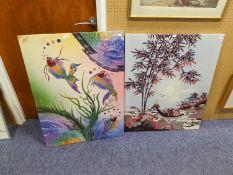 TWO MODERN INDONESIAN PRINTED FABRIC PANELS COASTAL SCENE AND MARINE FISH 35? x 25 ½? and