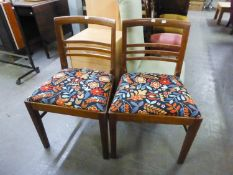SET OF FIVE 'WARING AND GILLOWS' DINING CHAIRS WITH ABSTRACT SEAT COVERS
