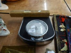 A PERSONAL WEIGHT SCALE, BRASS LETTER RACK, BRASS WALL PLAQUES ETC..