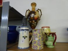 A LARGE LATE VICTORIAN TWO HANDLED POTTERY ON STAND WITH FOUR VARIOUS POTTERY LARGE JUGS (5)