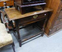 ANTIQUE OAK LOW BOY/OCCASIONAL TABLE, HAVING FALL LEAF AND SINGLE DRAWER