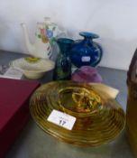 CERAMICS AND GLASS, CLARICE CLIFF SMALL COFFEE POT, (a/f), GOEBEL MILK JUG, THREE MDINA GLASS VASES,