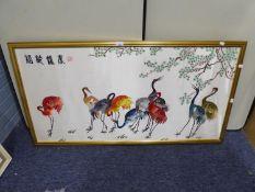 MODERN CHINESE NEEDLEWORK PICTURE ON SILK TEN STORKS 23? X 46 ½?