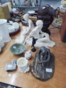 AMATEUR EARTHENWARE SCULPTURE  AND ARTWORKS including; HEAD OF A YOUNG MAN AND RECLINING NUDE MALE