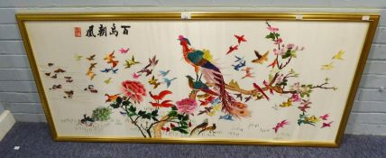 MODERN CHINESE NEEDLEWORK PICTURE ON SILK COLOURFUL BIRDS AND FLOWERING FOLIAGE 23 ½? x 55 ½?