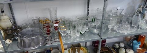 STEM WINE GLASSES; A CUT GLASS FRUIT BOWL, FLOWER VASES AND MISC GLASSWARES