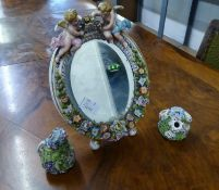 SITZENDORF PORCELAIN OVAL EASEL SUPPORT FLOWER ENCRUSTED MIRROR AND TWO GERMAN POSY HOLDERS (3)