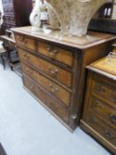 ANTIQUE OAK CHEST OF TWO SHORT AND THREE LONG DRAWERS WITH BRASS LOOP HANDLES (A.F.)