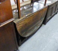 AN EIGHTEENTH CENTURY OAK GATE-LEG DINING TABLE AND ANOTHER OAK GATE-LEG DINING TABLE ON SPIRAL LEGS