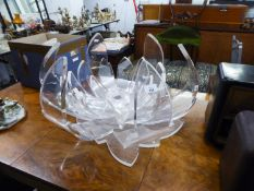 A 'FABIAN ART' ITALIAN PERSPEX COFFEE TABLE IN THE FORM OF A FLOWER (LACKING GLASS TOP)