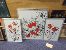 RUTH ROLAND (MODERN) THREE ORIGINAL PRINTS IN BLACK AND RED Fruit and flowers 28 ¼? x 22? and