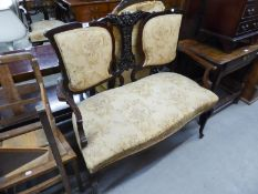 EDWARDIAN TWO SEATER DRAWING ROOM SETTEE HAVING CARVED BACK