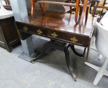ANTIQUE MAHOGANY SOFA TABLE, HAVING FOUR DRAWERS, TWO FALSE DRAWERS ON QUADRANT UNDERFRAME